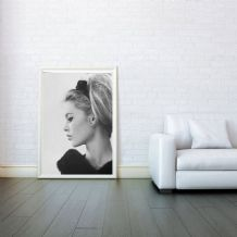 Brigitte Bardot Face Side View , Decorative Arts, Prints & Posters, Wall Art Print, Poster Any Size - Black and White Poster